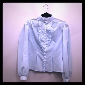 Vintage sky blue blouse with faux pearl buttons